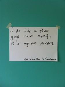 I do like to think good about myself